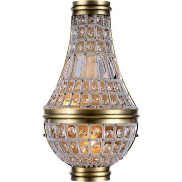 "Stella 9.5"" W Wall Sconce, French Gold Finish, Clear Crystal, Royal Cut"