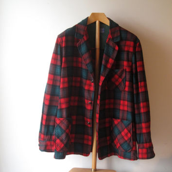 Vintage 60s Pendleton Plaid Wool 3 Pocket 49er Jacket size Men XL