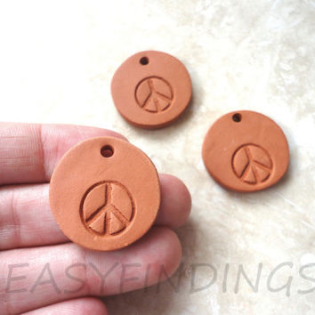 Diffuser Clay Ceramic Peace Sign Pendant, Natural Eco Friendly Jewelry, Aromatherapy Essential Scented Oil