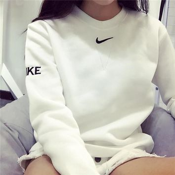 Embroidery Pullover Winter Alphabet Simple Sports Hoodies [11048964295]