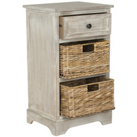 Carrie Side Storage Side Table White Washed