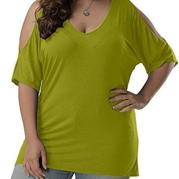 Allegrace Women Plus Size V Neck Short Sleeve Batwing Top Cold Shoulder T Shirt