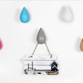 3pcs wooden water small drop coat hat hanger, wall mounted coat hat hooks. 7 colors
