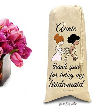 Thank you for being my bridesmaid, maid, matron- personalized wine/champagne tote