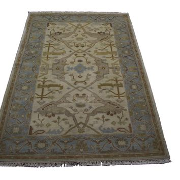 4x6 Handmade Beige 100% Wool Rug Aqua Gray Gold Mocha Turkish Ushak 2894