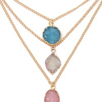 Faux Druzy Stone Necklace Set