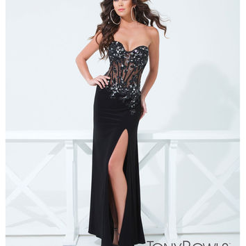 Tony Bowls 2014 Prom Dresses - Black Jersey Strapless Corset Prom Dress