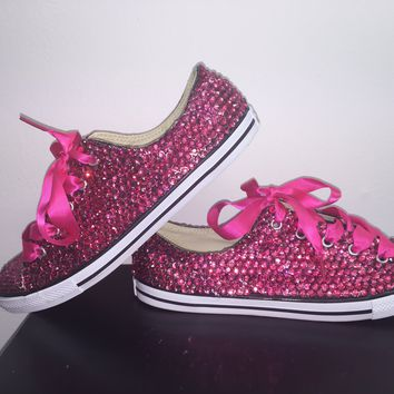 """Dainty All Star Converse """"Pretty In pink"""" With Double Fuchsia Pink Crystals & Hot Pink Laces"""