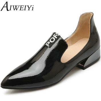 AIWEIYi Oxfords Shoes Women New Sexy Pointed toe Footwear Shoes Letters Print Oxfords