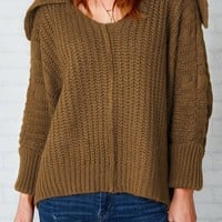 Cupshe Stuck On You Lapel Casual Sweater