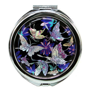 Mother of Pearl Blue Butterfly 2x Magnification Double Compact Cosmetic Makeup Vanity Folding Mini Purse Beauty Pocket Mirror