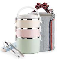 Food Fruit Container Storage Bento Lunch Box Set Stainless Steel Japanese DIY Bento Box Portable Dinnerware Tote Thermal Bag