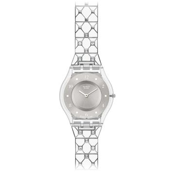 Swatch SFK356G Women's Elegantly Framed Silver Dial Stainless Steel Watch