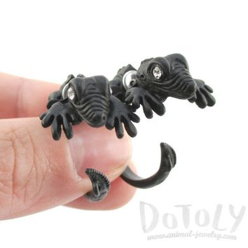 3D Iguana Lizard Shaped Front and Back Two Part Stud Earrings in Black