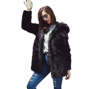 Fashion Women Warm Jackets Thickening Coat Long Coats Jacket Faux Fur Fox Mink Parka Outwear O-Neck Cardigan Black