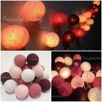 20 Cotton Balls maroon Color Fairy String Lights Party Patio Wedding Floor dinning Table Hanging Gift Home Decor Christmas kids Bedroom