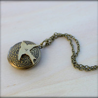 FREE SHIPPING. Initial. Brass Bird Locket.