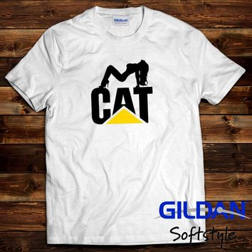 2018Caterpillar CAT Graphic Logo White T-Shirt Mens Clothing M, L, XL, 2XLtop tee cat windbreaker Pug tshirt Trump sweat sporter