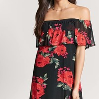 Floral Off-the-Shoulder Flounce Dress