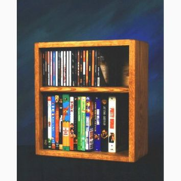 Wood Shed Solid Oak desktop or shelf for CD's and DVD's/ VHS Tapes