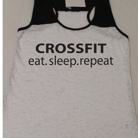 Crossfit Eat Sleep Repeat Fitness. Bootcamp. Motivation. Tank Top