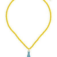 Beaded Tassel Necklace - Yellow