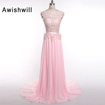Real Picture Cheap Long Evening Dress Capped Sleeve Lace Chiffon Sweep Train Women Party Gowns Prom Dresses