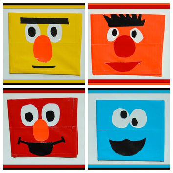 Sesame Street Duct Tape Wallet...Choose ONE of 4 Styles-Hand Made-Elmo, Cookie Monster, Bert, Ernie