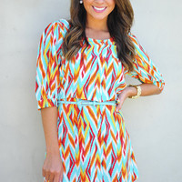 Drive Me Crazy Dress: Blue/Multi | Hope's