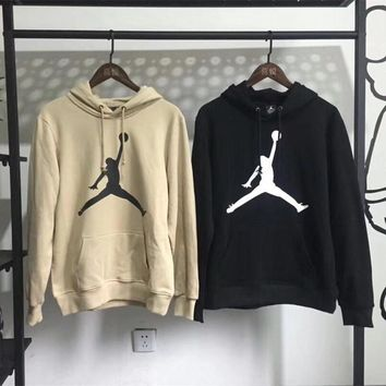 """Air Jordan"" Unisex Classic Simple Print Hooded Long Sleeve Cotton Sweater Couple Sweatshirt Hoodie Tops"