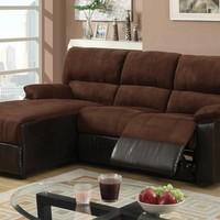 2 Pc Greenbrooke collection 2 tone dark chocolate bonded leather and microfiber sectional sofa with Left side chaise and recliner chair