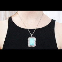 Turquoise Square with Tiny Rhinestones Necklace