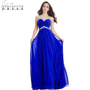 Babyonline In Stock Royal Blue Long Prom Dresses 2017 Cap Sleeve Beaded Crystal Chiffon Evening Party Dress vestido de festa