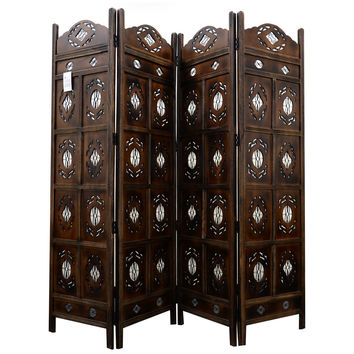 Kashmiri Wood Room Divider 4 Panel Carved Screen