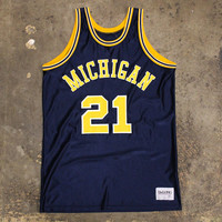 University Of Michigan Ray Jackson #21 DeLong Basketball Jersey Navy (Size 46 / Large)