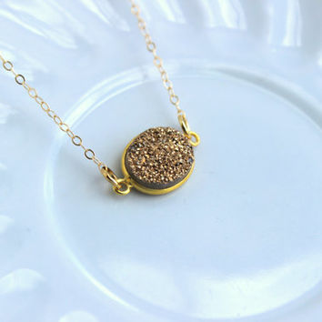Gold Druzy Necklace Natural Druzy Jewelry - Gold Drusy Necklace Jewelry Druzy Christmas Gift Under 20 Necklace Statement Jewelry