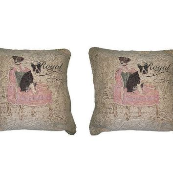 "Set of Two Royal Dogs French Bulldog Beagle Elegant Novelty Woven Square Throw Toss Accent Cushion Cover Pillow with Inserts 18"" x 18"""