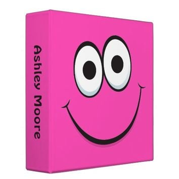Smiley face binder, personalized pink binder