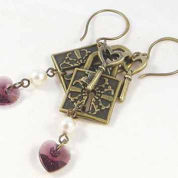 Lock Key Amethyst Heart Earrings Swarovski Crystals Pearls Antique Brass Charms Fashion Jewelry