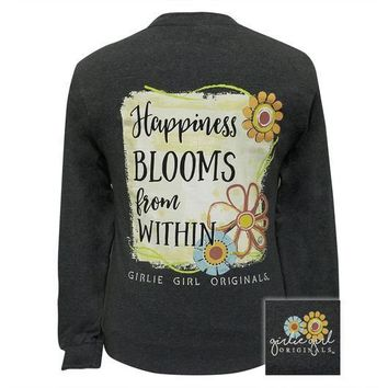 Girlie Girl Originals Preppy Happiness Blooms From Within Long Sleeve T-Shirt