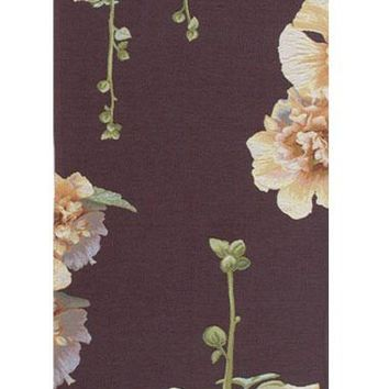 Yellow Hollyhocks Purple French Table Runner