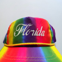 Vintage Florida Rainbow Hat 1980s