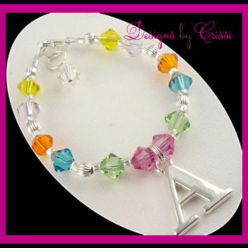 Initial Boutique Personalized Charm Bracelet Swarovski Crystal for Baby Toddler and Girls, choose your colors