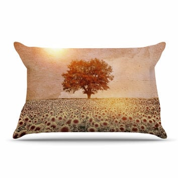 "Viviana Gonzalez ""Lone Tree & Sunflowers Field"" Sunny Nature Pillow Case"