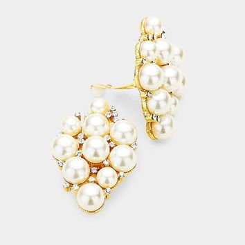 Crystal Pearl Cluster Layer Clip On Earrings