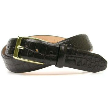 Anthony Alligator Grain Leather Belt in Black by Martin Dingman