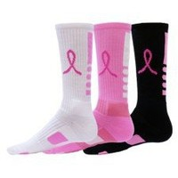 Red Lion Ribbon Legend Crew Breast Cancer Awareness Socks 3 Pair Pack | deviazon.com