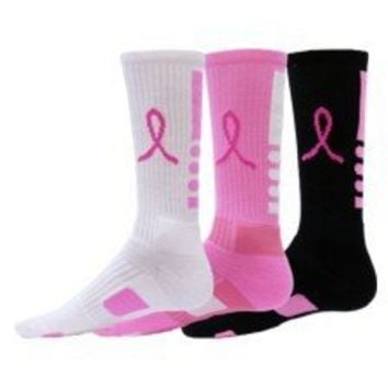 Red Lion Ribbon Legend Breast Cancer Socks