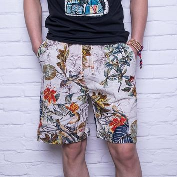 2018 men's cotton linen fabric printing beach shorts, summer dry sweat, loose big code five points pants, 8 colors casual short.