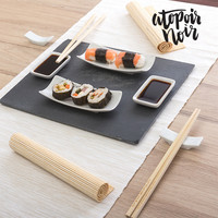 Sushi Set with Slate Tray Atopoir Noir (11 pieces)